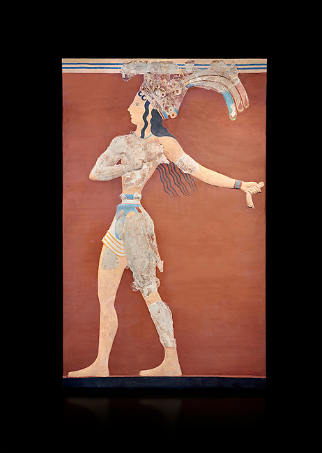 Minoan 'Prince of the Lilies' wall art freco, Knossos Palace, 1600-1450 BCHeraklion Archaeological Museum. Black Background. <br /> <br /> An emblematic image of Minoan Crete this fresco was part of a larger composition in high relief. The fresco depicts a life size figure wearing a coloured kilt with a cod piece and a belt. A majestic crown on his head is adorned with papyrus lilies and peacock feathers. Neopalatial Period.