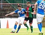 Glentoran v St Johnstone…. 09.07.16  The Oval, Belfast  Pre-Season Friendly<br />Keith Watson and Kym Nelson<br />Picture by Graeme Hart.<br />Copyright Perthshire Picture Agency<br />Tel: 01738 623350  Mobile: 07990 594431