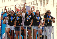 New York, New York - Friday July 10, 2015: The USWNT participate in a ticker tape parade in their honor up the Canyon of Hero's.