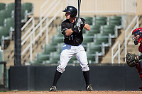 Casey Schroeder (17) of the Kannapolis Intimidators at bat against the Hagerstown Suns at Kannapolis Intimidators Stadium on June 15, 2017 in Kannapolis, North Carolina.  The Intimidators walked-off the Suns 5-4 in game one of a double-header.  (Brian Westerholt/Four Seam Images)