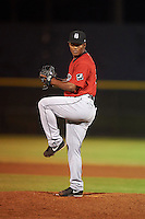 Birmingham Barons pitcher Miguel Chalas (12) delivers a pitch during a game against the Biloxi Shuckers on May 23, 2015 at Joe Davis Stadium in Huntsville, Alabama.  Birmingham defeated Biloxi 2-0 as the Shuckers are playing all games on the road, or neutral sites like their former home in Huntsville, until the teams new stadium is completed.  (Mike Janes/Four Seam Images)