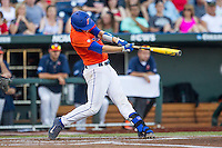 Florida Gators catcher JJ Schwarz (22) swings the bat against the Virginia Cavaliers in Game 13 of the NCAA College World Series on June 20, 2015 at TD Ameritrade Park in Omaha, Nebraska. The Cavaliers beat the Gators 5-4. (Andrew Woolley/Four Seam Images)