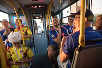 KAZAN, RUSSIA - June 24, 2018: A Colombia fan makes fun of the cheers of Polish fans on a shuttle bus for fans to Kazan Arena before their 2018 FIFA World Cup group stage match between Colombia and Poland.