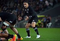 New Zealand's Aaron Smith waits for the ball during the Bledisloe Cup rugby match between the New Zealand All Blacks and Australia Wallabies at Eden Park in Auckland, New Zealand on Saturday, 7 August 2021. Photo: Dave Lintott / lintottphoto.co.nz
