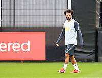 14th September 2021: The  AXA Training Centre, Kirkby, Knowsley, Merseyside, England: Liverpool FC training ahead of Champions League game versus AC Milan on 15th September: Mohammed Salah of Liverpool