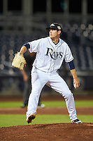 Peoria Javelinas pitcher Kyle Bird (47), of the Tampa Bay Rays organization, during a game against the Glendale Desert Dogs on October 18, 2016 at Peoria Stadium in Peoria, Arizona.  Peoria defeated Glendale 6-3.  (Mike Janes/Four Seam Images)