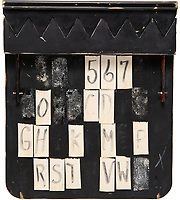BNPS.co.uk (01202 558833)<br /> Pic: HeritageAuctions/BNPS<br /> <br /> Pictured: The back of the clapperboard.<br /> <br /> A unique shark-teeth clapperboard used during the filming of Jaws has emerged for sale for £30,000. ($40,000)<br /> <br /> The black and white wooden slate, which has 'Jaws' and 'Spielberg' written on it, resembles the fearsome predator with its serrated black and white clap stick.<br /> <br /> It lifts up and down to mimic the great white shark's bite which terrorised Amity island's residents in the 1975 Stephen Spielberg film.