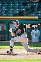 Dustin Garneau (13) of the Albuquerque Isotopes at bat against the Salt Lake Bees in Pacific Coast League action at Smith's Ballpark on June 8, 2015 in Salt Lake City, Utah.   The Bees defeated the Isotopes 10-7 in game one of a double-header.(Stephen Smith/Four Seam Images)