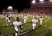 California players warms up before the game against Utah at Rice-Eccles Stadium in Salt Lake City, Utah on October 27th, 2012.   Utah Utes defeated California, 49-27.