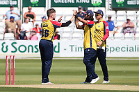 Sam Cook of Essex celebrates with his team mates after taking the wicket of Max Holden during Essex Eagles vs Middlesex, Vitality Blast T20 Cricket at The Cloudfm County Ground on 18th July 2021