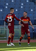 Football, Serie A: AS Roma -  Udinese, Olympic stadium, Rome, February 14, 2021. <br /> Roma's Jordan Veretout (r) celebrates after scoing his second goal in the match with his teammate Gianluca Mancini (l) during the Italian Serie A football match between Roma and Udinese at Rome's Olympic stadium, on February 14, 2021.  <br /> UPDATE IMAGES PRESS/Isabella Bonotto