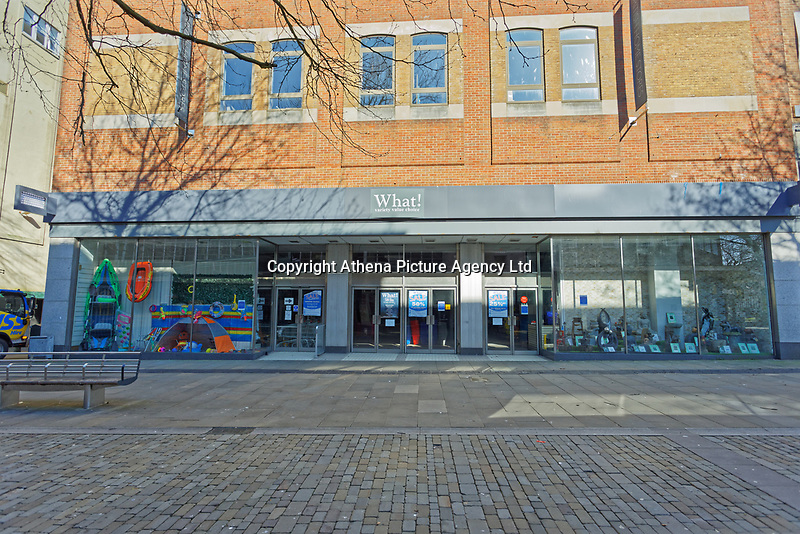 Pictured: The closed What! store in the city centre of Swansea, Wales, UK. Wednesday 25 March 2020 <br /> Re: Covid-19 Coronavirus pandemic, UK.