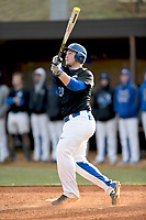 Designated hitter Caleb Watkins (23) of the Spartanburg Methodist College Pioneers bats in Game 2 of a junior college season-opening doubleheader against the Patrick Henry Patriots on February 3, 2018, at Mooneyham Field in Spartanburg, South Carolina. (Tom Priddy/Four Seam Images)