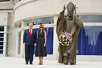 President Donald Trump and First lady Melania Trump visit Saint John Paul II National Shrine