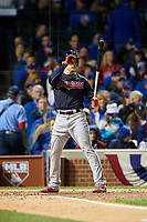 Cleveland Indians Brandon Guyer (6) bats in the fifth inning during Game 5 of the Major League Baseball World Series against the Chicago Cubs on October 30, 2016 at Wrigley Field in Chicago, Illinois.  (Mike Janes/Four Seam Images)