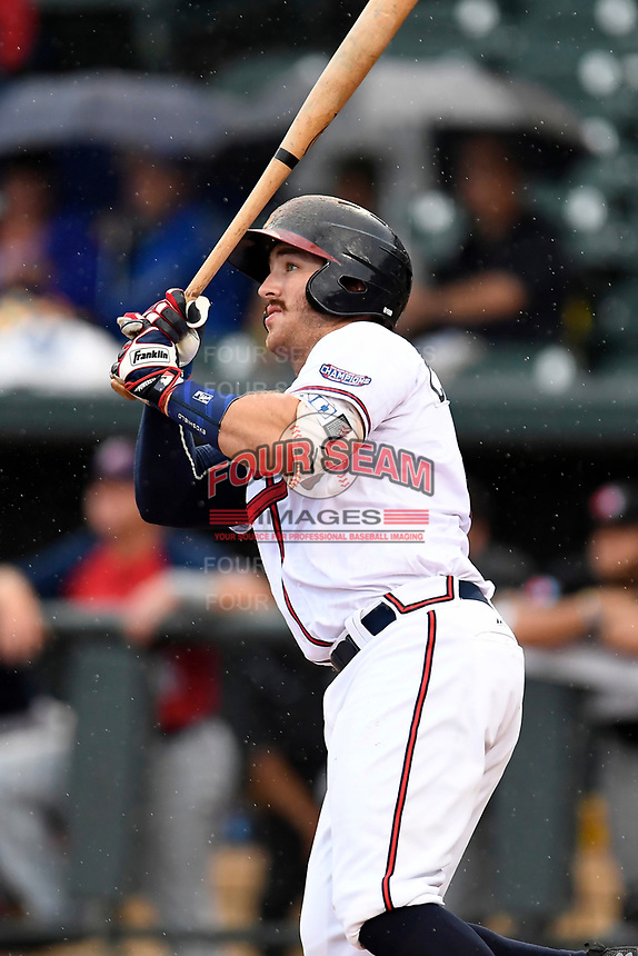 Brett Cumberland (28) of the Rome Braves with the South team bats during the South Atlantic League All-Star Game on Tuesday, June 20, 2017, at Spirit Communications Park in Columbia, South Carolina. The game was suspended due to rain after seven innings tied, 3-3. (Tom Priddy/Four Seam Images)