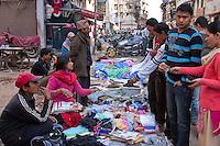 Kathmandu, Nepal.   Vendors of Under Wear, Towels, and Assorted Items at a Street Market, Downtown Kathmandu.