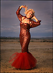 Legendary Burlesque dancer Dee Milo (Dorothy Lonnecker) photographed at Exotic World in Helendale, Calfornia at the annual Stippers Convention on May 6, 1995