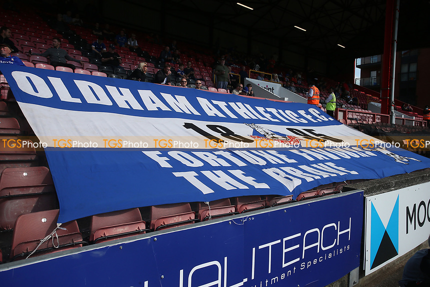 Giant Oldham flag during Leyton Orient vs Oldham Athletic, Sky Bet EFL League 2 Football at The Breyer Group Stadium on 11th September 2021