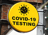 Covid19 testing at the Claret Diagnostics private health testing facility in London's Leicester Square. Claret Diagnostics services range from pathology tests and extending to providing PCR Swab Tests in kit form for a DIY self-test or by a specialist Nurse. London October 14th 2020<br /> <br /> Photo by Keith Mayhew