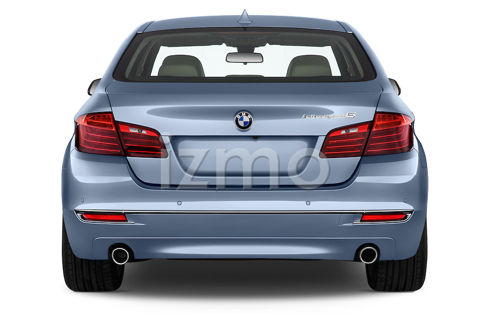 Straight rear view of a 2015 BMW SERIES 5 ActiveHybrid 5 Luxury 4 Door Sedan Rear View  stock images