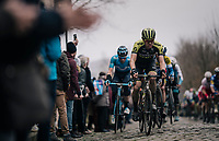 Christopher Juul-Jensen (DEN/Mitchelton-Scott) up the Oude Kwaremont<br /> <br /> 71th Kuurne-Brussel-Kuurne 2019 <br /> Kuurne to Kuurne (BEL): 201km<br /> <br /> ©kramon