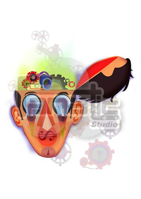 Illustration of brain mechanism over white background