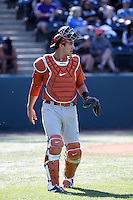 Michael Cantu (7) of the Texas Longhorns during a game against the UCLA Bruins at Jackie Robinson Stadium on March 12, 2016 in Los Angeles, California. UCLA defeated Texas, 5-4. (Larry Goren/Four Seam Images)