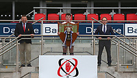 Ulster Schools' Cup Winners 2020<br /> <br /> Ulster Branch President Gary Leslie (left) is pictured at Kingspan Stadium with Royal School Armagh captain Sam Rainey and Richard Caldwell representing sponsors Danske Bank when the famous Schools' Cup trophy was presented to Royal School Armagh. The St. Patrick's Day final against Wallace High Schools was cancelled cue to COCID-19 as a consequence the Cup will he shared for the 2019-2020 season.  Photo by John Dickson / Dicksondigital