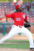 Manuel Flores #36 of the Inland Empire 66'ers pitches against the Modesto Nuts at Arrowhead Credit Union Park in San Bernardino,California on May 30, 2011. Photo by Larry Goren/Four Seam Images