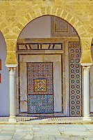 Tunis, Tunisia.  Examples of the Work of Sidi Kacem Al-Jalizi, died 1496.   Sidi Kacem is Tunisia's most famous ceramic artist.  Zawiya of Sidi Kacem Al-Jalizi, build 17th-18th Centuries, restored 20th. Century.