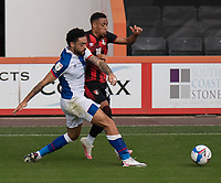 Blackburn Rovers' Derrick Williams (left) battles for possession with Bournemouth's Arnaut Danjuma (right) <br /> <br /> Photographer David Horton/CameraSport <br /> <br /> The EFL Sky Bet Championship - Bournemouth v Blackburn Rovers - Saturday September 12th 2020 - Vitality Stadium - Bournemouth<br /> <br /> World Copyright © 2020 CameraSport. All rights reserved. 43 Linden Ave. Countesthorpe. Leicester. England. LE8 5PG - Tel: +44 (0) 116 277 4147 - admin@camerasport.com - www.camerasport.com