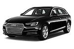 2017 Audi A4 Sport 5 Door Wagon Angular Front stock photos of front three quarter view