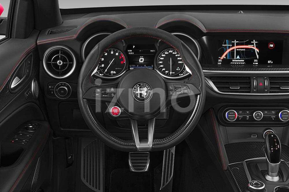 Steering wheel view of a 2019 Alfaromeo Stelvio-Quadrifoglio - 5 Door SUV Steering Wheel