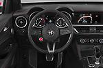 Car pictures of steering wheel view of a 2019 Alfaromeo Stelvio-Quadrifoglio - 5 Door SUV Steering Wheel