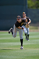 Pittsburgh Pirates Clark Eagan (67) throws back to the infield during a minor league Spring Training game against the Philadelphia Phillies on March 24, 2017 at Carpenter Complex in Clearwater, Florida.  (Mike Janes/Four Seam Images)