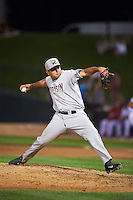 Wisconsin Timber Rattlers pitcher Gian Rizzo (32) delivers a pitch during a game against the Peoria Chiefs on August 21, 2015 at Dozer Park in Peoria, Illinois.  Wisconsin defeated Peoria 2-1.  (Mike Janes/Four Seam Images)