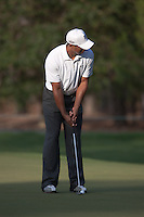 PONTE VEDRA BEACH, FL - MAY 6: Tiger Woods putts on the 12th green during his practice round on Wednesday, May 6, 2009 for the Players Championship, beginning on Thursday, at TPC Sawgrass in Ponte Vedra Beach, Florida.