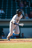 Peoria Javelinas shortstop Lucius Fox (5), of the Tampa Bay Rays organization, starts down the first base line during an Arizona Fall League game against the Mesa Solar Sox at Sloan Park on November 6, 2018 in Mesa, Arizona. Mesa defeated Peoria 7-5 . (Zachary Lucy/Four Seam Images)