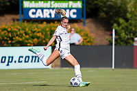 CARY, NC - SEPTEMBER 12: Kelli Hubly #20 of the Portland Thorns clears the ball during a game between Portland Thorns FC and North Carolina Courage at Sahlen's Stadium at WakeMed Soccer Park on September 12, 2021 in Cary, North Carolina.