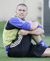 23 April 2005: Earthquakes' Wade Barrett warms up in practice before the game against Wizards at Spartan Stadium in San Jose, California.   Earthquakes defeated Wizards, 3-2.  Credit: Michael Pimentel / ISI