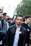 Spanish film director Alejandro Amenabar during peaceful concentration in front of the Russian embassy in Madrid in repudiation of alleged crimes of persecution, torture and extermination of homosexuals in Chechnya. April 21, 2017. (ALTERPHOTOS/Acero)