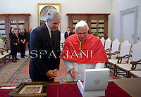 Pope Benedict XVI meets with Serbia's President Boris Tadic in his private library at the Vatican on November 14, 2009.