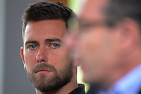 New assistant coach Des Buckingham listens as coach Ernie Merrick discusses his resignation from the Wellington Phoenix club at Newtown Park in Wellington, New Zealand on Tuesday, 6 December 2016. Photo: Dave Lintott / lintottphoto.co.nz