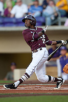 Mississippi State outfielder Demarcus Henderson #2 swings against the LSU Tigers during the NCAA baseball game on March 17, 2012 at Alex Box Stadium in Baton Rouge, Louisiana. The 10th-ranked LSU Tigers beat #21 Mississippi State, 4-3. (Andrew Woolley / Four Seam Images).