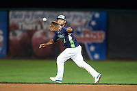 Vermont Lake Monsters second baseman Jesus Lopez (2) fields a ball during a game against the Hudson Valley Renegades on September 3, 2015 at Centennial Field in Burlington, Vermont.  Vermont defeated Hudson Valley 4-1.  (Mike Janes/Four Seam Images)