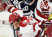 Alex Killorn (Harvard - 19) celebrates his game-tying goal. - The Harvard University Crimson defeated the visiting Yale University Bulldogs 8-2 in the third game of their ECAC Quarterfinal matchup on Sunday, March 11, 2012, at Bright Hockey Center in Cambridge, Massachusetts.