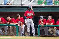 Nick Gordon (middle) of the Elizabethton Twins waits for his turn to bat against the Johnson City Cardinals at Cardinal Park on July 27, 2014 in Johnson City, Tennessee.  The game was suspended in the top of the 5th inning with the Twins leading the Cardinals 7-6.  (Brian Westerholt/Four Seam Images)