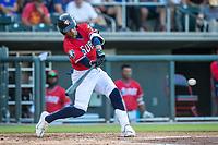 Wichita Wind Surge outfielder Leobaldo Cabrera (17) at bat against the Northwest Arkansas Naturals at Riverfront Stadium on July 9, 2021 in Wichita, Kansas. (William Purnell/Four Seam Images)