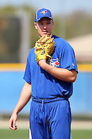 Toronto Blue Jays pitcher Noah Syndergaard participates in pitcher fundamental practice during minor league practice at the Englebert Minor League Complex on February 27, 2012 in Dunedin, Florida.  (Mike Janes/Four Seam Images)
